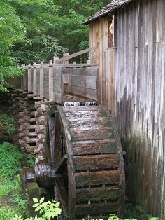 Water wheel for grist mill at Cades Cove, Great Smoky Mountains National Park, Tennessee.