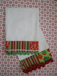 jazzing up flour sack dishcloths from the dollar store. These are Christmas ones, but you can use any fabric