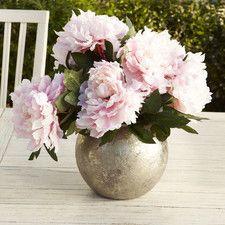 Faux Pink Peonies in Silver Vase