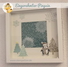 stampin up stempeltier ribba rahmen Bilderrahmen home deco es schneit pinguin snowfriends penguin tannenbaum flockenzauber flurry of wishes
