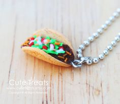 Miniature food jewelry  Taco necklace  Super by Cutetreats on Etsy, $12.00