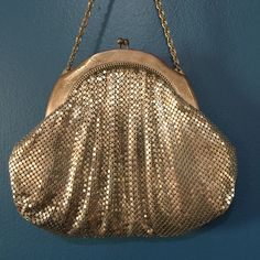 Vintage Whiting and Davis Silver Mesh Evening Bag Post WWII 1950s by SweetGingerVintage on Etsy https://www.etsy.com/listing/255789581/vintage-whiting-and-davis-silver-mesh