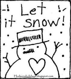 Hudson's Holidays - Shirley Hudson: Let it snow- Freebie pattern design Christmas Arts And Crafts, Christmas Fabric, Christmas Rugs, Let It Snow, Primitive Stitchery, Hand Embroidery Patterns, Quilting Designs, Cross Stitching, Stitch Patterns
