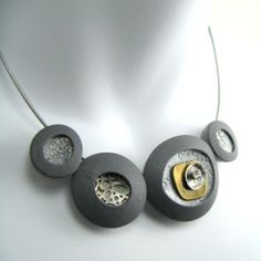 Polymer clay, brass and sterling choker by Stonehouse Studio.