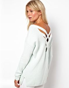 Image 1 of ASOS Chunky Sweater With Strap Cross Back