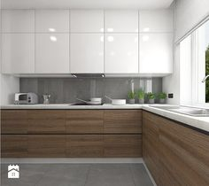 Interior design - Kitchen: Interior of the apartment in Teofilów - Large open ., Interior design - Kitchen: Interior of the apartment in Teofilów - Large open L-shaped kitchen, Scandinavian style - Here architects. Home Decor Kitchen, Kitchen Cabinet Design, Kitchen Remodel, Kitchen Decor, Contemporary Kitchen, Simple Kitchen Design, Home Kitchens, Modern Kitchen Design, Kitchen Renovation
