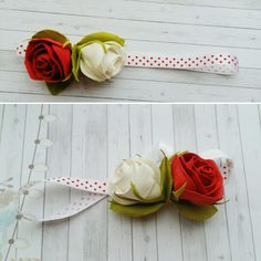 "Headband ""White & red rose"""