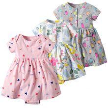 a2bdbd48d2ef3 Enfant en bas âge enfant bébé fille à manches courtes robe florale  princesse barboteuse robes vêtements