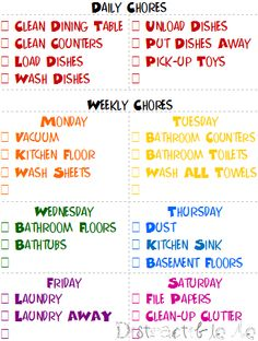 Weekly Cleaning Schedule. pretty good!