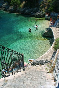I wish we had gone there on our trip to Greece. Steps to the Sea in Ithaca, Greece Places Around The World, Oh The Places You'll Go, Places To Travel, Places To Visit, Vacation Destinations, Dream Vacations, Weekend Vacations, Unique Vacations, Dream Vacation Spots