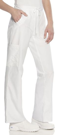 """Baby Phat Drawstring Pant in White Drawstring pant features detailed embroidery on the cargo pocket. Side scooped pockets, a back patch pocket, and side vents complete this pant. Inseam length: 31"""".  Fabric: Brushed Cotton/Poly Poplin $28.99 #scrubs #nurses #doctors #medicaloutlet #babyphat Baby Phat Scrubs, Cherokee Uniforms, Medical Uniforms, Back Patch, Scrub Pants, Drawstring Pants, Poplin, Perfect Fit, Pajama Pants"""