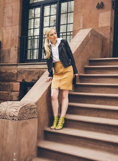 "The Walking Dead's Emily Kinney Takes Us On A Tour Of Her NYC #refinery29  http://www.refinery29.com/emily-kinney-walking-dead#slide12  That outfit is fierce. ""You probably can't tell, but I was so cold! The shoes are amazing — they aren't the comfiest in the world, but definitely worth it with the right dress, jacket, or special night on the town.""Skirt, Shop Similar Style at Neiman Marcus."