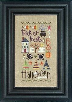 The Halloween Sampler cross stitch pattern can be finished in two ways as shown and the pricing below does include the button packet.