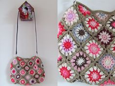 Awesome crocheted bag by Haken en meer (Dutch blog) Love the design and colors for a blanket.