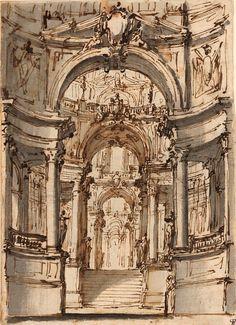 Ferdinando Galli Bibiena | 1657-1743 | Monumental Palace Court | The Morgan Library & Museum