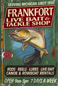 Frankfort, Michigan - Tackle Shop Trout Vintage Sign - Lantern Press Artwork (24x36 Gallery Quality Metal Art), Multi