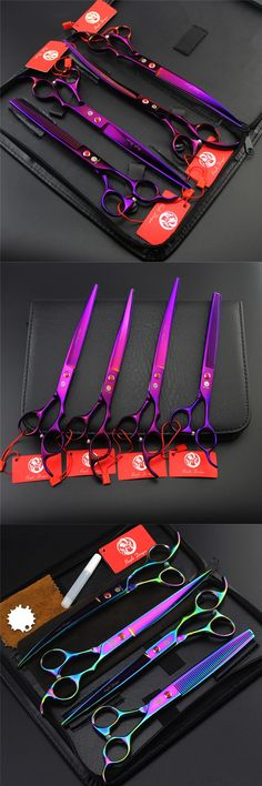 8.0 inch Professional Pet Dog Grooming Scissors Set Straight & Curved & Thinning Shears Animals Hair Cutting Tools Kit