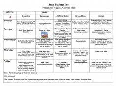 emergent curriculum preschool lesson plan template | Preschool Weekly Lesson Plan by Early Learning Curriculum