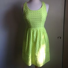 American eagle lime green sun dress ☀️🍀 Lime green dress I've only wore once from American Eagle. American Eagle Outfitters Dresses