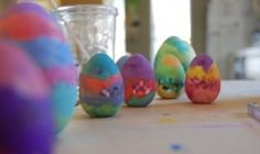 watercolored wooden eggs