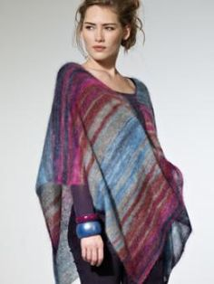 Neulottu naisen viitta poncho Rowan Kidsilk haze puikot 4 kerät 4 x Cool  - knitted poncho