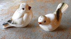 Vintage Salt & Pepper Shakers Birds White and Brown
