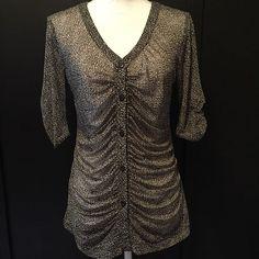 CABi #241 Medium Top Black Pebble Print Gathered Ruched Placket Button Shirt M #CAbi #Blouse
