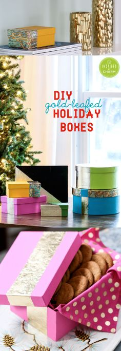 DIY Gold-leafed Holiday Boxes - great for wrapping up gifts of sweet treats! #IBCholiday