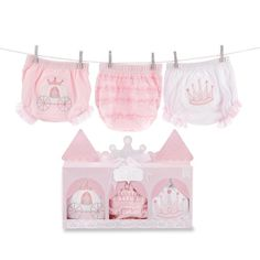 Baby Aspen Her Royal Hineys 3-pk. Princess Bloomers, Infant Girl's, Size: 0-6 Months, Pink
