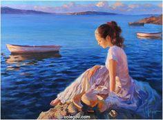"""Warm Sunset,"" painting by Vladimir Volegov. Woman Painting, Figure Painting, Vladimir Volegov, Ecole Art, Beach Art, Female Portrait, Beautiful Paintings, Painting Inspiration, New Art"