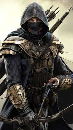 m Ranger med armour Longbow Cape Sword medlvl The Elder Scrolls Online: Tamriel Unlimited The Elder Scrolls, Elder Scrolls Online, Dark Fantasy Art, Fantasy Armor, Medieval Fantasy, Sci Fi Fantasy, Fantasy Character Design, Character Inspiration, Character Art