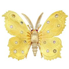 Buccellati Natural Color Diamond Butterfly Pin | From a unique collection of vintage brooches at https://www.1stdibs.com/jewelry/brooches/brooches/