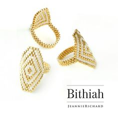 White and Gold Hexagon Ring Hexagon Statement Ring Geometric image 2 Diy Beaded Rings, Diy Jewelry Rings, Beaded Bracelets Tutorial, Handmade Wire Jewelry, Diy Crafts Jewelry, Seed Bead Jewelry, Bead Jewellery, Beaded Jewelry, Bead Crochet Patterns