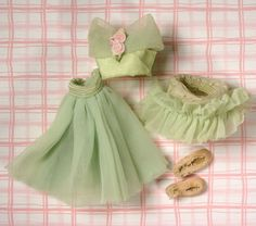 """Vintage 1950s Tiny Betsy McCall 8"""" Doll Green Ballerina Outfit w/ Slippers, GUC #AmericanCharacater #ClothingAccessories"""