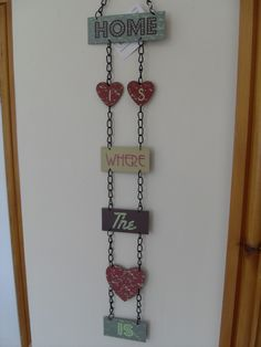 HOME IS WHERE THE HEART IS NO PLACE LIKE HOME HANGING METAL SIGN CHIC N SHABBY