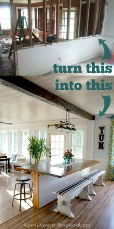 DIY Built-in Breakfast Bar Dining Table This dining area makeover is AMAZING and I love her style! Need a breakfast bar area like this, maybe I can take out a wall. Home Upgrades, Home Renovations, Bar Dining Table, Dining Area, Dining Rooms, Table Bench, Diy Table, Bar Tables, Outdoor Dining