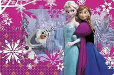 Frozen Sisters Plastic Place mat Birthday Party Anna Elsa Olaf 12 x 18 .  Buy 2 and save.  Lewskys.com