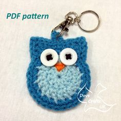 PDF CROCHET PATTERN to make a cute owl key ring / key chain. Could also be used as an applique.  Please note - THIS IS A PDF PATTERN, NOT A FINISHED ITEM.  Pattern written in US crochet terms, with UK equivalent stitches explained.  You cannot sell the pattern itself or claim it as your own, but you may sell items you make from this pattern. An author credit on items you sell is much appreciated.  No refunds will be given on patterns once purchased.  Very happy to answer any questions you…