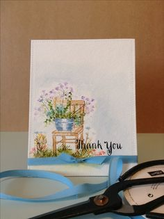Thank you card by Melodie.  Impression Obsession stamp.  Simon Says Stamp sentiment stamp.  Watercolor look.