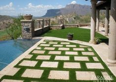 Fake Grass and Pavers in Queen Creek AZ - Modern Fake Turf, Fake Grass, Landscaping With Rocks, Front Yard Landscaping, Landscaping Ideas, Synthetic Lawn, Lawn Maintenance, Backyard Paradise, Artificial Turf