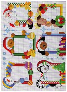 Cross stitch Christmas Frames I would need two more patterns for my 8 grandchildren!!