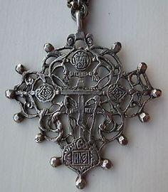 Unusual Vintage 800 Silver Cini Peruzzi Style Cross with Double Chain