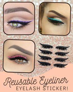 Eyebrow Makeup Tips, Cat Eye Makeup, Beauty Makeup Tips, Love Makeup, Eyeshadow Makeup, Glitter Eyeliner, Winged Eyeliner, Shiny Eyes, Dreadlocks