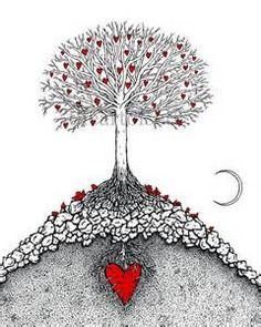 Zentangle Tree Roots The great tree with moon - print of original ...