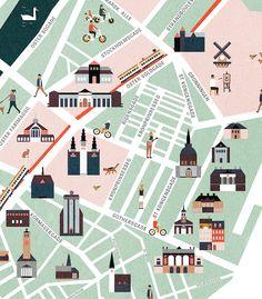Copenhagen map illustration on Behance