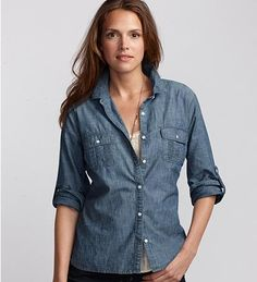 Eddie Bauer, one of the only basic Chambray button downs I can find thus far.