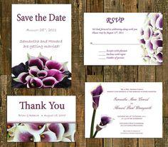 Purple Calla Lily Wedding Invitation Custom By CCGDigitalDesigns, $45.00