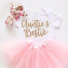 Aunties Bestie onesie Baby girl clothes by BellesandBeausInc