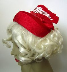 Vintage 1950s Skull Cap Hat // Red // Feathered // by MKRetro, $34.00