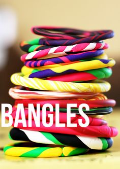 Make Bangle Bracelets from oven bake clay - A perfect craft for a girls birthday party!  Only takes a few minutes to make, and 15 min. to bake.  This makes me wish I had a little girl!